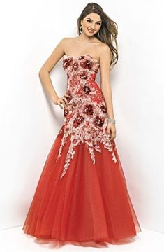 Blush Lingerie Embroided Strapless Floral Trumpet Gown 9533