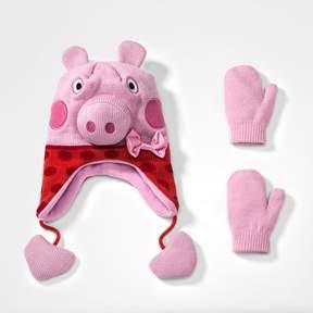 Peppa Pig Toddler Girls' Peruvian Hat and Mitten Set - Pink One Size