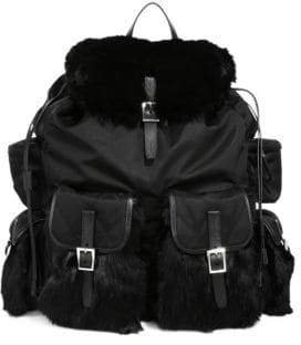 Prada Fur & Nylon Backpack