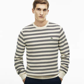 Lacoste Men's Striped Honeycomb Knits Crew Neck Sweater