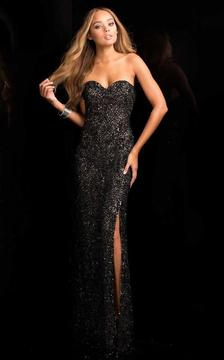 SCALA - 48674 Sweetheart Beaded Prom Dress with Front Slit