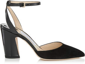 Jimmy Choo MICKY 85 Black Suede and Patent Pointy Toe Pumps
