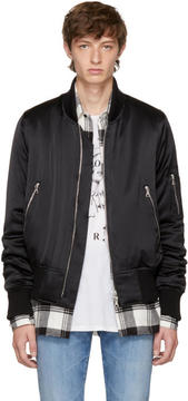 Amiri Black Silk Bomber Jacket