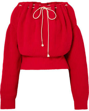 Calvin Klein Ruched Ribbed Cotton Sweater - Red