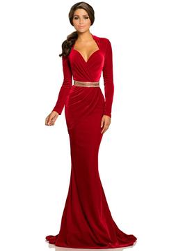 Johnathan Kayne 8092 Queen Anne Neckline Velvet Gown