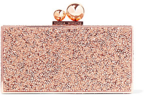 Sophia Webster Clara Crystal-embellished Metal Clutch - Copper