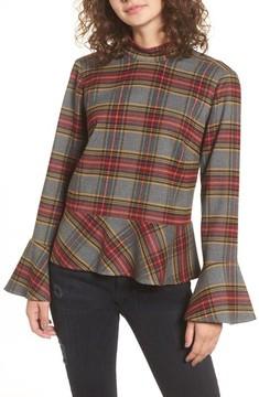 BP Women's Plaid Ruffle Hem Shirt
