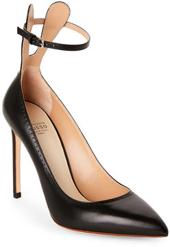 Francesco Russo Black Perforated Pointed Toe Ankle Strap Pumps