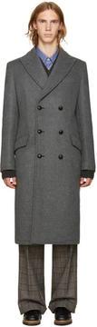 Junya Watanabe Grey Wool Vinyl Pouch Coat