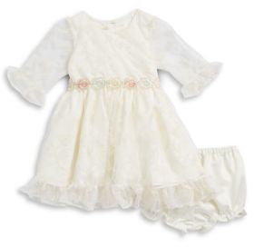 Laura Ashley Baby Girl's Embroidered Lace Dress and Bloomers Set