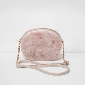 River Island Girls pink faux fur oval cross body bag