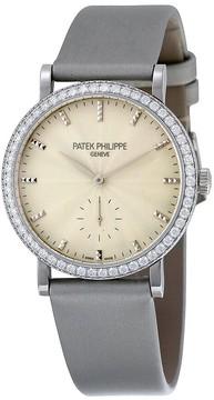 Patek Philippe Calatrava Cream Guilloche Dial 18K White Gold Diamond Ladies Watch