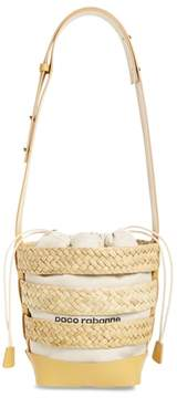Paco Rabanne Cage Straw & Canvas Bucket Bag