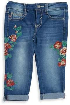 Vigoss Little Girl's Floral Cross Stiched Capri Jeans