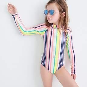 J.Crew Girls' long-sleeve one-piece swimsuit in pink stripe