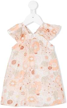Chloé Kids frill-sleeve floral-print dress