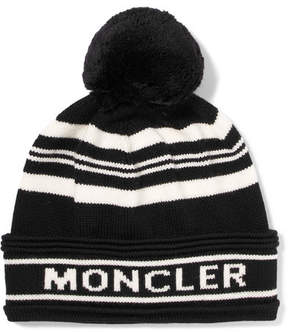 Moncler Striped Intarsia Wool Beanie - Black