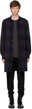Robert Geller Navy Long Plaid Shirt