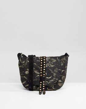 Park Lane Studded Jacquard Mini Saddle Bag With Suede Strap