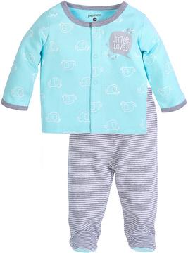 Petit Lem Blue Car Top & Gray Stripe Footie Set - Infant