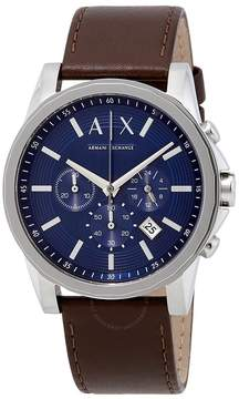 Armani Exchange Chronograph Blue Dial Brown Leather Men's Watch
