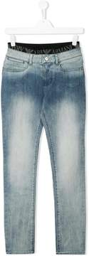 Emporio Armani Kids TEEN branded waistband jeans