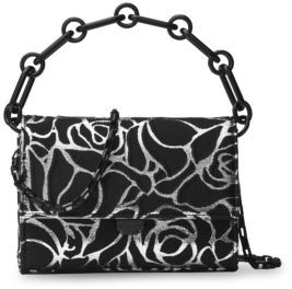 Michael Kors Yasmeen Leather Clutch - BLACK-SILVER - STYLE