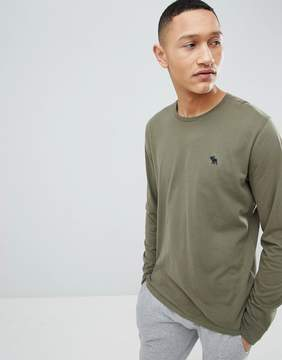 Abercrombie & Fitch Long Sleeve T-Shirt with Moose Logo in Green
