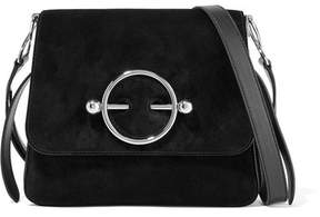 J.W.Anderson Disc Suede And Leather Shoulder Bag - Black