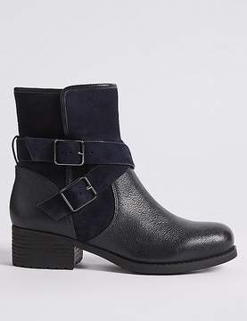 Marks and Spencer Leather Block Heel Biker Ankle Boots