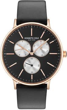 Kenneth Cole New York Kenneth Cole Men's Black Leather Strap Watch 46mm KC14946006