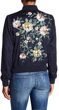 Bagatelle Embroidered Faux Suede Bomber Jacket