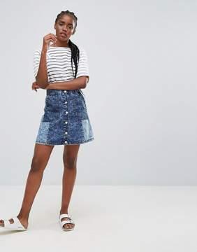 Bellfield Wiltoni Blocked Denim A Line Skirt