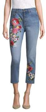 Alice + Olivia AO.LA by Embroidered High-Rise Slim-Fit Jeans