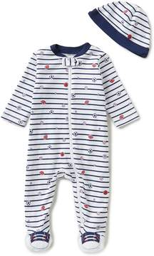 Little Me Baby Boys Preemie-9 Months Sport Star Striped Footed Coverall & Hat Set