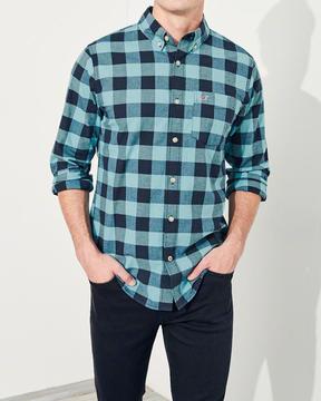 Hollister Stretch Plaid Poplin Shirt