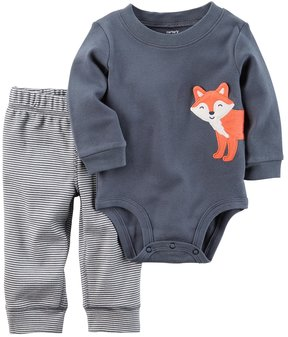 Carter's Baby Boy Embroidered Fox Bodysuit & Striped Pants Set
