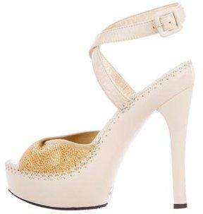Versace Leather Embellished Sandals