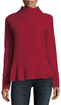 Neiman Marcus Ribbed Mock-Neck Cashmere Peplum Sweater