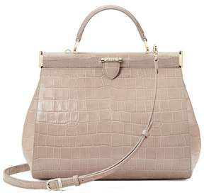 Aspinal of London Large Florence Frame Bag In Deep Shine Soft Taupe Croc