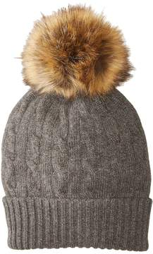 Polo Ralph Lauren Cashmere Classic Cable Hat w/ Faux Fur Pom Caps