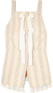 Altuzarra Archie Grosgrain-trimmed Tasseled Cotton-blend Jacquard Top - Off-white