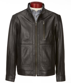 Roundtree & Yorke Big & Tall Lambskin Moto Jacket