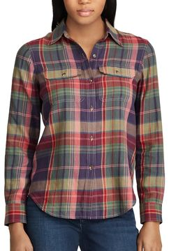 Chaps Women's Plaid Button-Down Work Shirt