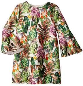 Oscar de la Renta Childrenswear Mikado Jungle Monkeys Bell Sleeve Dress Girl's Dress