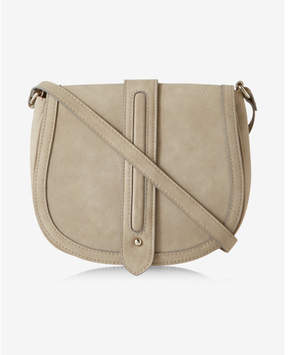 Express faux suede trapunto stitch saddle bag