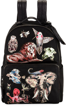 Valentino Animal-Embellished Fabric Backpack, Black