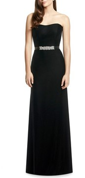 Dessy Collection Women's Embellished Belt Strapless Velvet Gown