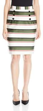 Nine West Striped Button Detail Cotton Sateen Straight Skirt