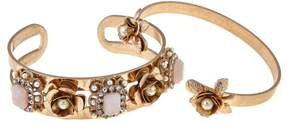 Danielle Nicole Disney's Beauty and the Beast Set of 2 Goldtone Rose Cuff Bracelets